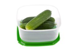 Lunch box with cucumbers. Royalty Free Stock Image
