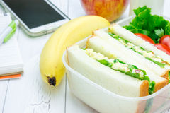 Lunch box with egg salad sandwiches, fruits, milk and stationery. Stock Photography