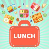 Lunch box with food banner vector illustration. Plastic containers with meal for school, work, university. Eggs with. Sausages, cherry tomatoes, cookies, boiled vector illustration