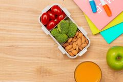 Lunch box and healthy food on isolated background Royalty Free Stock Photo