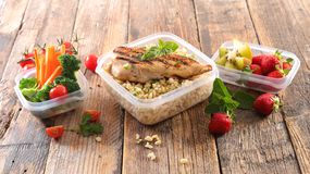 Lunch box. Healthy meal in lunch box Stock Image