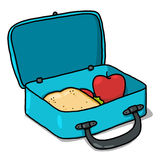 Lunch box illustration. Open lunch box cartoon; Isolated lunch box with sandwich and apple Stock Images