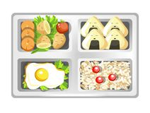 Lunch box of Japanese bento meals sushi rolls, eggs and rice with salad. Vector isolated flat icon of lunchbox with food for healthy eating or diet nutrition Royalty Free Stock Photos