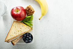 Lunch box for kids. Healthy and nutritious lunch box for school kids or work, breakfast or lunch to go stock photos