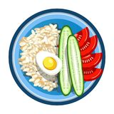 Lunch box with meals of fried egg, rice garnish and vegetables salad. Vector isolated flat icon of lunchbox with food for healthy eating or diet nutrition Royalty Free Stock Photos