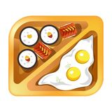Lunch box meals healthy diet food of fried eggs and sushi rolls. Lunch box with meals of fried eggs and Japanese sushi rolls. Vector isolated flat icon of Stock Photo