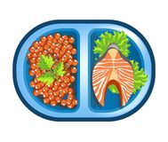 Lunch box meals healthy diet food of salmon fish and red caviar. Lunch box with meals of salmon fish steak and red caviar garnish. Vector isolated flat icon of Royalty Free Stock Photography