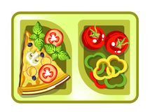 Lunch box with meals of pizza slice and vegetable salad. Vector isolated flat icon of lunchbox with food for healthy eating or diet nutrition, breakfast or Stock Photos