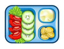 Lunch box meals healthy diet food of vegetables salad and cookies vector flat icon. Lunch box with meals of vegetables salad, mashed potatoes or mayonnaise and Royalty Free Stock Images
