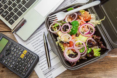 Lunch box in office Royalty Free Stock Photo