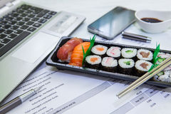 Lunch box in office Royalty Free Stock Images