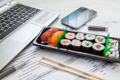 Lunch box in office Royalty Free Stock Photography