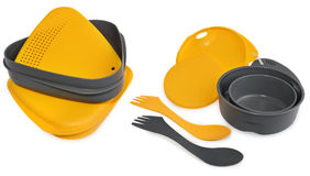 Lunch box  plastic containers, plates and cutlery. Stock Photos