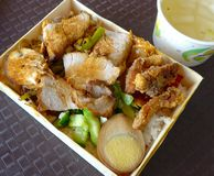 Lunch box with pork,stewed egg and vegetable closeup Royalty Free Stock Photos
