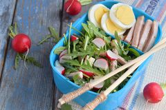 Lunch Box with salad of fresh vegetables - arugula, radish, feta cheese, ham, egg and sesame with flat bread tortilla. Healthy foo. D. Lunchbox royalty free stock images