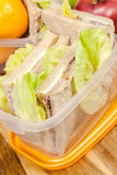 Lunch box with sandwich Royalty Free Stock Photo
