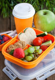 Lunch box with sandwich, cookies, veggies and fruits Royalty Free Stock Photos