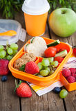 Lunch box with sandwich, cookies, veggies and fruits Stock Images