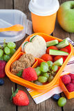 Lunch box with sandwich and fruits. Lunch box for kids with sandwich, cookies, fresh veggies and fruits stock image