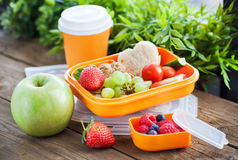 Lunch box with sandwich and fruits Royalty Free Stock Photos