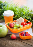 Lunch box with sandwich and fruits. Lunch box for kids with sandwich, cookies, fresh veggies and fruits royalty free stock photos