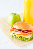 Lunch box with sandwich salad and friuts Stock Image