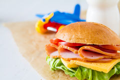 Lunch box with sandwich salad and friuts Stock Photography