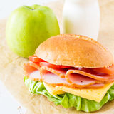 Lunch box with sandwich salad and friuts Royalty Free Stock Photos