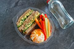 Lunch box with sandwich, vegetables, water and fruits on black chalkboard. Lunch box with sandwich, vegetables, water and ts on black chalkboard. Healthy eating Royalty Free Stock Photography