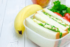 Lunch box with sandwiches, apple, banana and milk Royalty Free Stock Photos