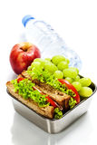 Lunch box with sandwiches and fruits Stock Image