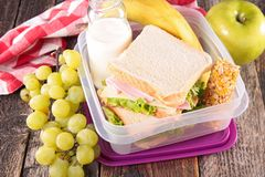 Lunch box. School lunch with sandwich stock images