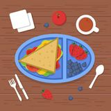 Lunch box on table. Place to eat food container sandwiches sliced fresh healthy fruits vegetables for dinner breakfast. Vector pictures lunch food, meal in royalty free illustration