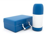 Lunch box and thermos Stock Images