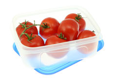 Lunch box with tomatoes. Royalty Free Stock Images