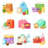 Lunch box vector school lunchbox with healthy food fruits or vegetables boxed in kids container in bag illustration set. Of packed meal in bagpack isolated on Stock Image