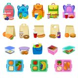 Lunch box vector school lunchbox with healthy food fruits or vegetables boxed in kids container illustration set of. Packed meal sausages or bread isolated on Royalty Free Stock Images