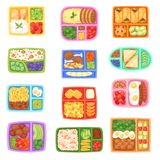 Lunch box vector school lunchbox with healthy food vegetables or fruits boxed in kids container illustration set of. Packed meal sausages or bread isolated on Royalty Free Stock Photography