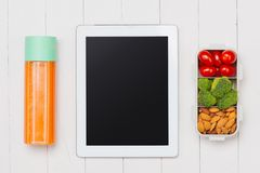 Lunch box with vegetables , almond,tomatos for a healthy school Royalty Free Stock Photography