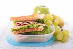 Lunch box. On wood background Royalty Free Stock Photography