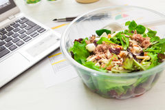 Lunch box on working Royalty Free Stock Images