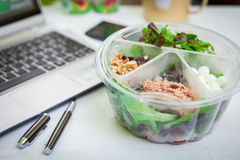 Lunch box on working Royalty Free Stock Photography