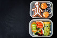 Lunch boxes for children in the form of monsters Royalty Free Stock Photo