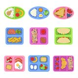 Lunch boxes. Food containers with fish, meal eggs sliced fresh fruits vegetables sandwich for kids breakfast. Vector stock illustration