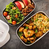 Lunch boxes with food ready to go Stock Image