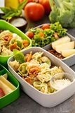 Lunch boxes with food ready to go. For work or school, ahead meal preparation or dieting concept royalty free stock photography