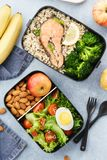 Lunch boxes with food ready to go for work or school. Meal preparation or dieting concept stock photography