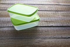 Lunch Boxes. On Wooden Background royalty free stock photos