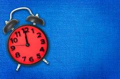 Lunch Break Alarm clock with blue Stock Photo