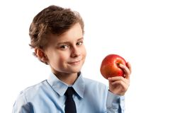 Lunch break with apple Stock Image
